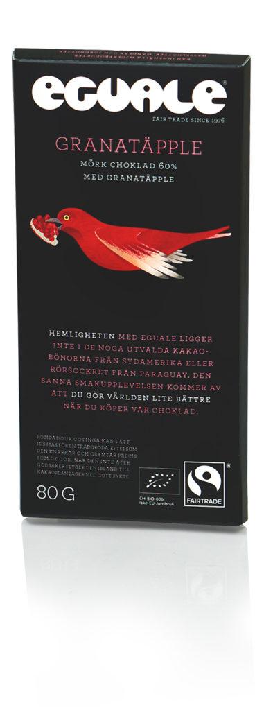 Eguale Granatäpple mörk choklad. Fairtrade-märkt och ekologiskt.