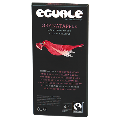 Eguale Granatäpple, Fairtrade-märkt och ekologisk choklad