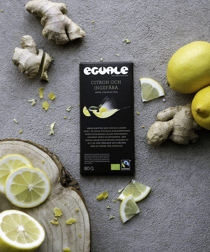 Rättvis och vegansk chokladnyhet - Eguale Citron och ingefära